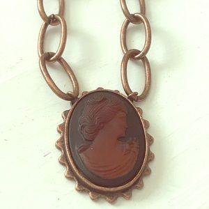 Copper Carved Cameo Pendant Necklace